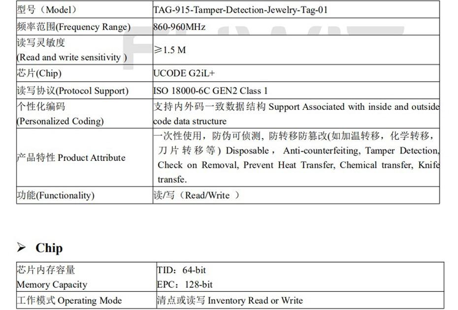RFID可侦测TD珠宝防拆标签